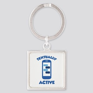 Textually Active Square Keychain