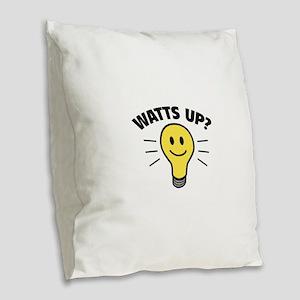 Watts Up? Burlap Throw Pillow