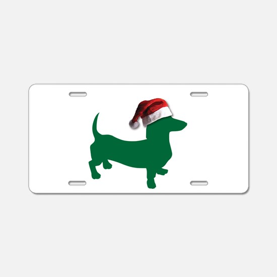 Christmas Green Dachshund Aluminum License Plate