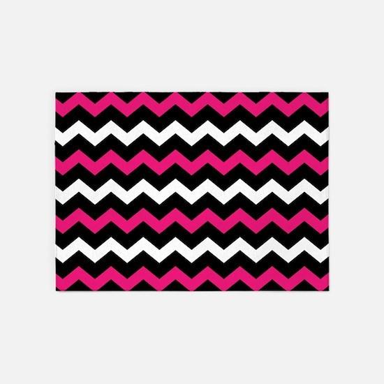 Black Pink And White Chevron 5'x7'Area Rug