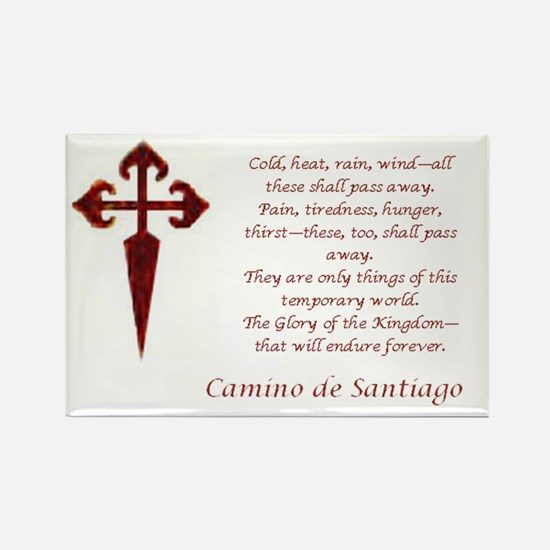 Camino Poem Red With Cross Magnets