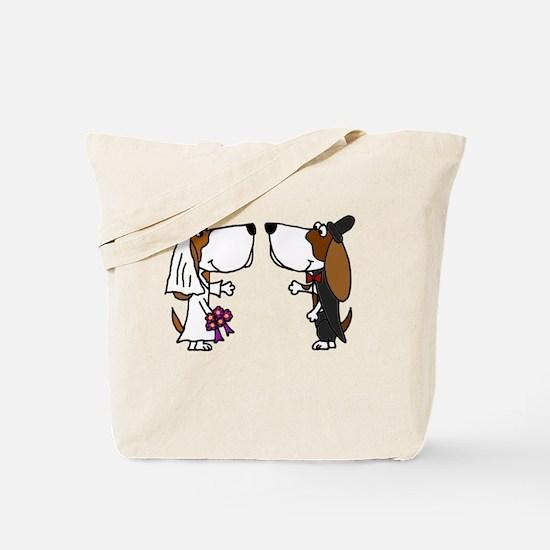Basset Hound Wedding Tote Bag