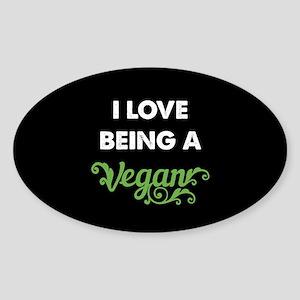 Love Being Vegan Sticker (Oval)