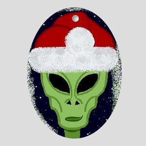 """""""Smiley"""" Alien Santa Ornament (oval)"""
