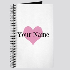 Pink heart and personalized name Journal