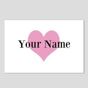 Pink heart and personalized name Postcards (Packag