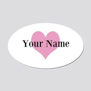 Pink heart and personalized name Wall Decal