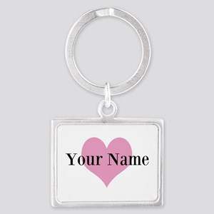 Pink heart and personalized name Keychains