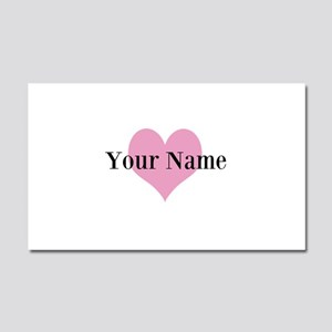 Pink heart and personalized name Car Magnet 20 x 1
