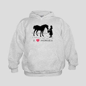 I Love Horses w/ Horse & Girl Kids Hoodie