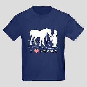 I Love Horses w/ Horse & Girl Kids Dark T-Shirt