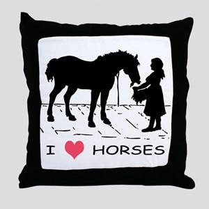 I Love Horses w/ Horse & Girl Throw Pillow