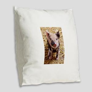 Piglet Burlap Throw Pillow
