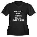 Just Think Women's Plus Size V-Neck Dark T-Shirt