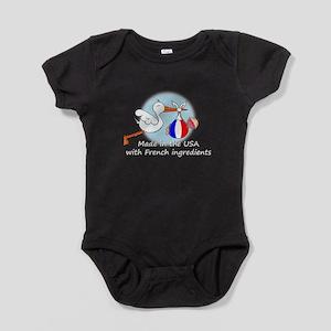 stork baby fr 2 white Baby Bodysuit