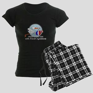 stork baby fr 2 white Women's Dark Pajamas