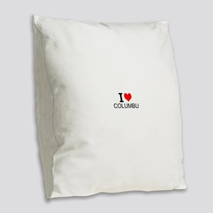 I Love Columbus Burlap Throw Pillow