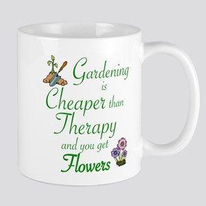 GARDENING: CHEAPER THERAPY/FLOWERS Mugs