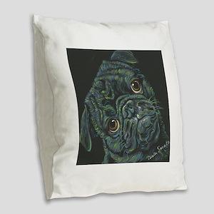 Rainbow Pug Burlap Throw Pillow