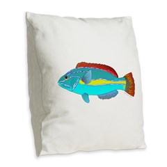Belted Wrasse Burlap Throw Pillow