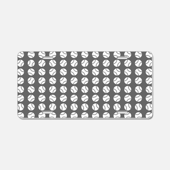 Sports: Baseball Ball Pattern Aluminum License Pla