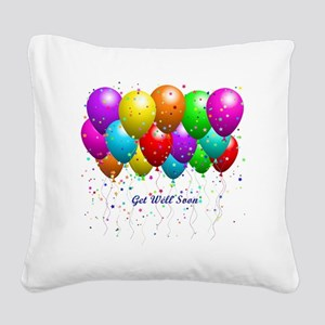 Get Well Balloons Square Canvas Pillow