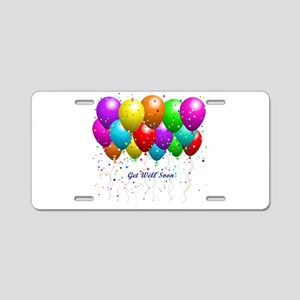 Get Well Balloons Aluminum License Plate