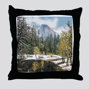 Half Dome and the Merced River After Throw Pillow
