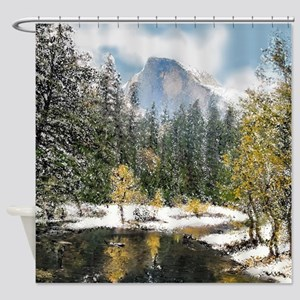 Half Dome and the Merced River Afte Shower Curtain
