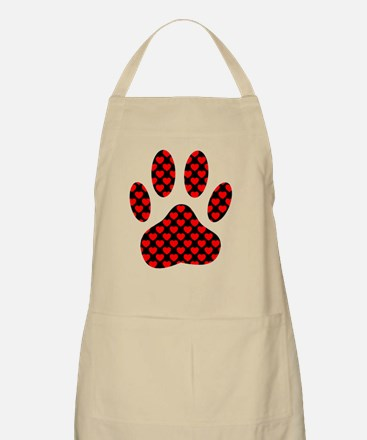 Dog Paw Print With Hearts Apron