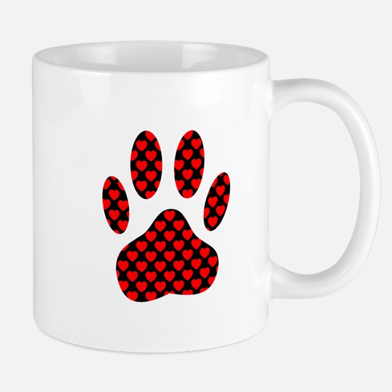 Dog Paw Print With Hearts Mugs