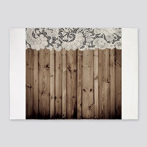barnwood white lace country 5'x7'Area Rug