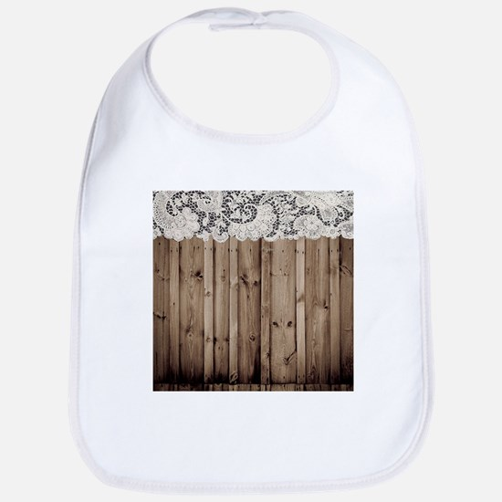 barnwood white lace country Bib
