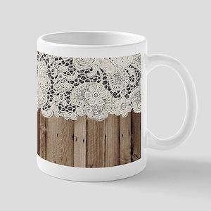 barnwood white lace country Mugs