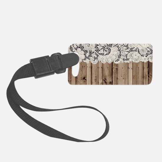 barnwood white lace country Luggage Tag