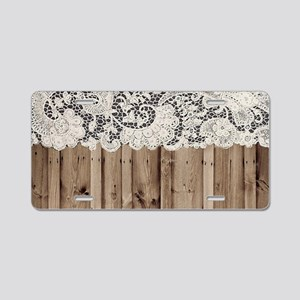 barnwood white lace country Aluminum License Plate
