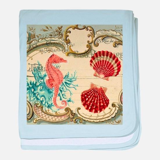 chic seahorse seashells nautical beac baby blanket