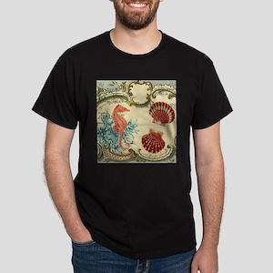 chic seahorse seashells nautical beach T-Shirt