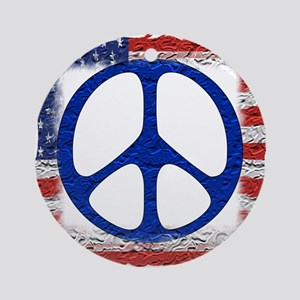 Tattered Flag of Peace Ornament (Round)