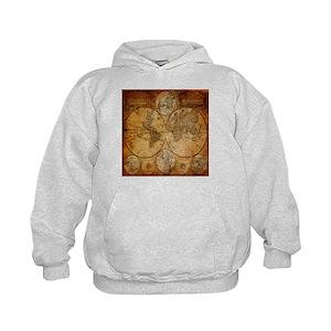Old World Map Kids Hoodies Sweatshirts Cafepress