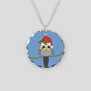 Cockatiel Christmas Necklace Circle Charm