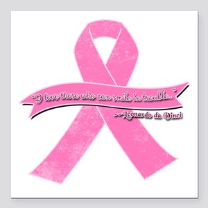 """Pink Ribbon with Smile Q Square Car Magnet 3"""" x 3"""""""