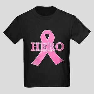 HERO with Pink Ribbon Kids Dark T-Shirt