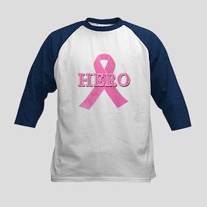 HERO with Pink Ribbon Kids Baseball Jersey