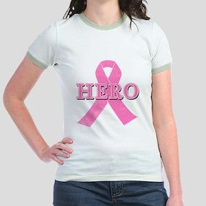 HERO with Pink Ribbon Jr. Ringer T-Shirt