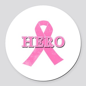 HERO with Pink Ribbon Round Car Magnet