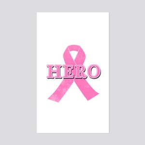 HERO with Pink Ribbon Sticker (Rectangle)