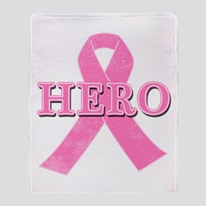 HERO with Pink Ribbon Throw Blanket