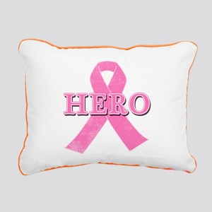 HERO with Pink Ribbon Rectangular Canvas Pillow