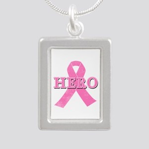 HERO with Pink Ribbon Silver Portrait Necklace